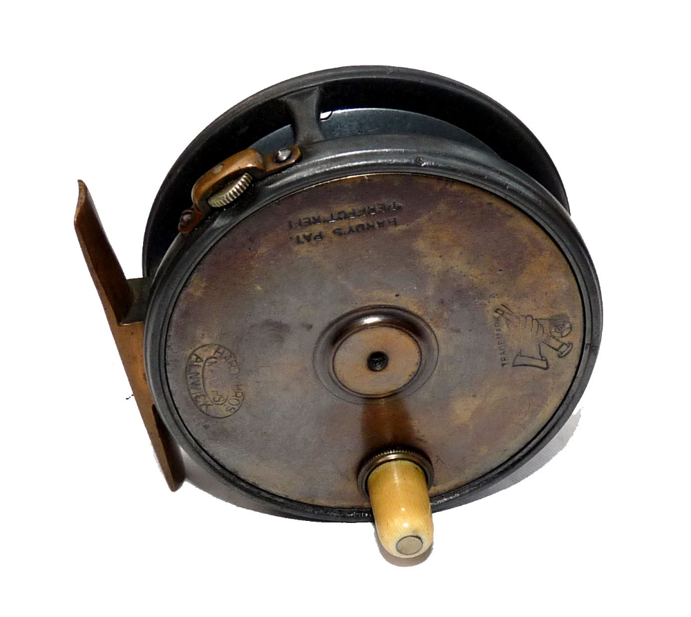 Mullock 39 s auctions reel rare hardy 3 1 8 brass faced for Antique fishing reels price guide