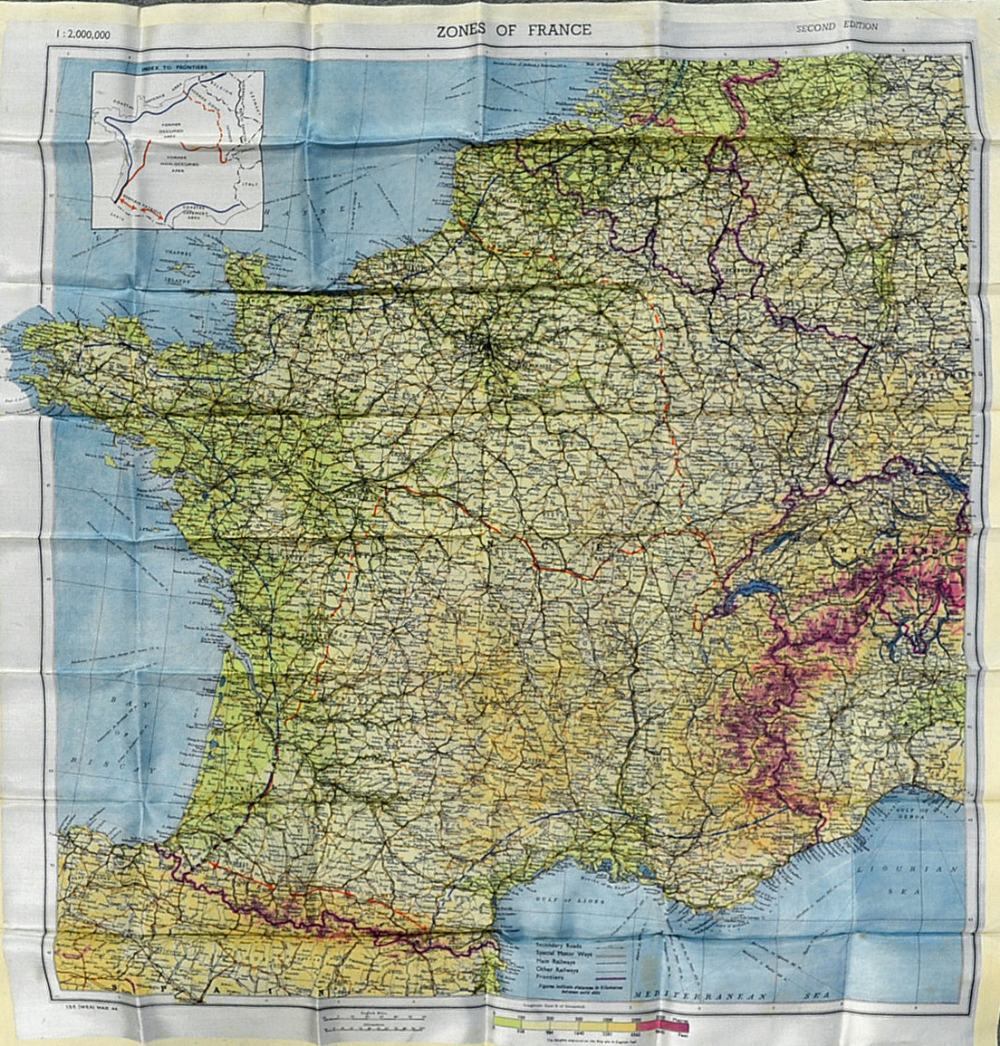 Map Of France Zones.Mullock S Auctions Wwii Zones Of France Silk Escape Map Second