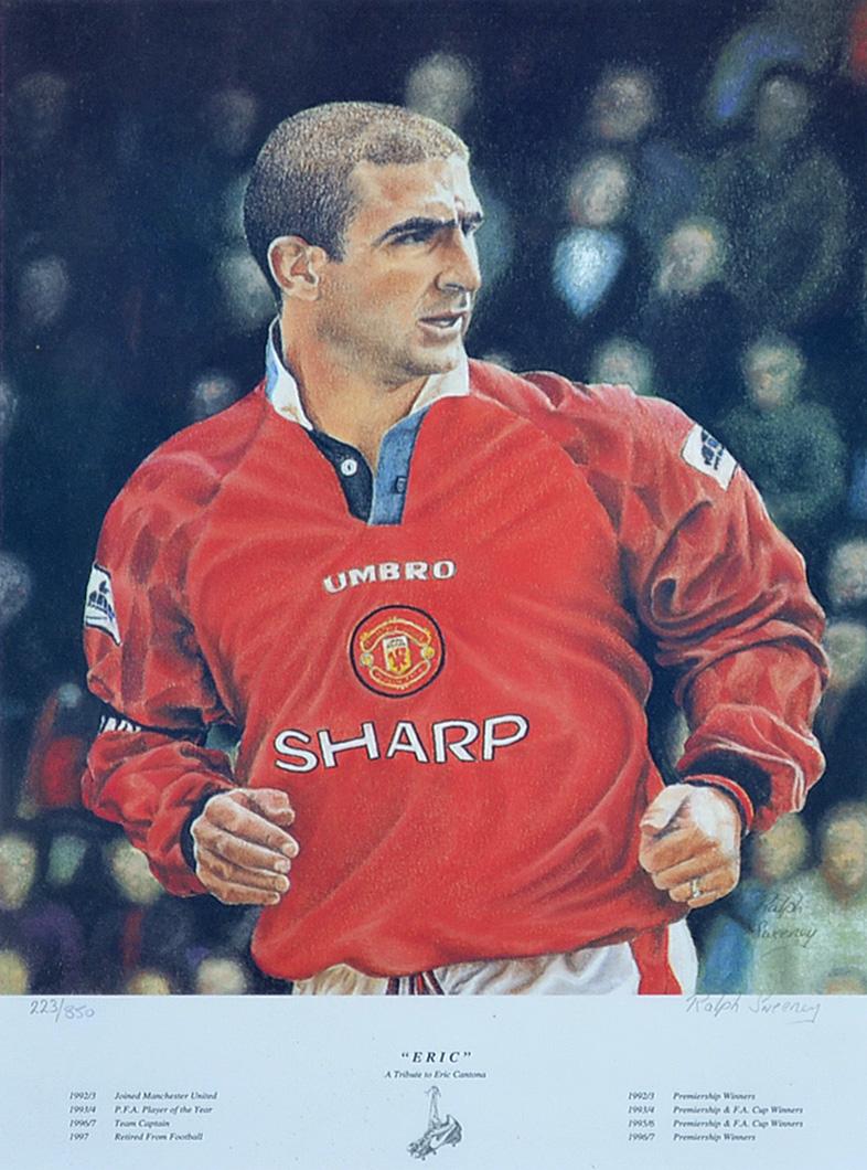 Mullock\'s Auctions - Manchester United Eric Cantona Football colour ...