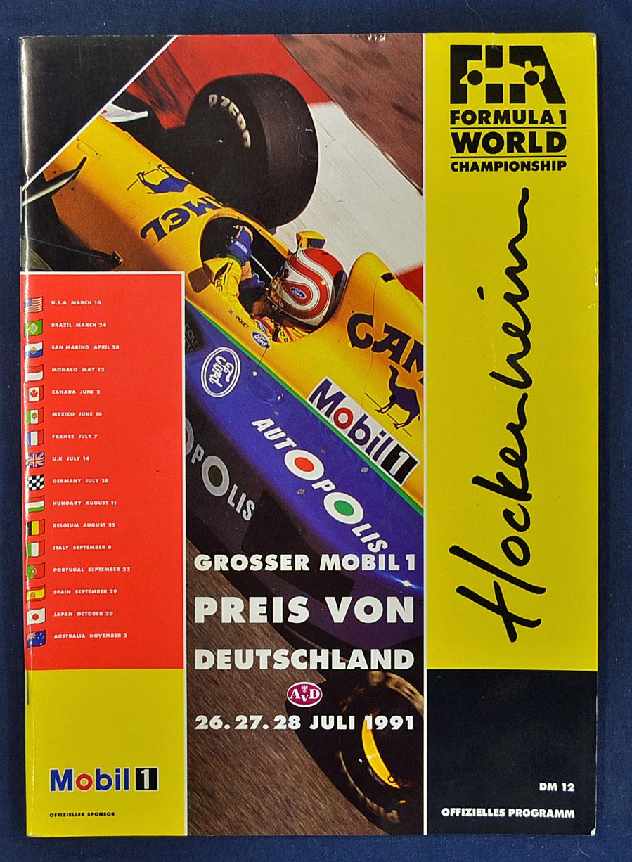 mullock 39 s auctions 1991 formula 1 world championship programme at hockenheim. Black Bedroom Furniture Sets. Home Design Ideas